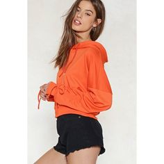 Nasty Gal Put It to the Test Ruched Hoodie (€23) ❤ liked on Polyvore featuring tops, hoodies, orange, gathered top, orange hoodie, ruched sleeve top, orange hooded sweatshirt and tie sleeve top