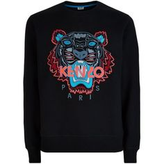 Kenzo Icon Tiger Sweater (1 140 PLN) ❤ liked on Polyvore featuring tops, sweaters, tiger print sweater, floral print top, tiger top, black sweater and floral sweater