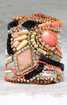 Angel Skin Coral & Black  Bracelet by Sharona Nissan