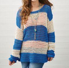 Simple stripes! Slouchy crochet sweater pattern from Simply Crochet. #CrochetCardigan