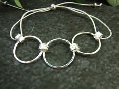 Sterling Silver Circles Bracelet. Adjustable Fit Freesize £25.00