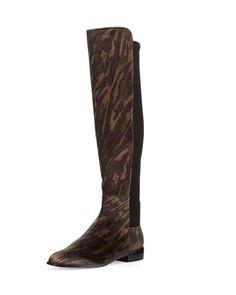 X316R Stuart Weitzman Mainstay Tiger-Print Stretch Knee Boot, Wild