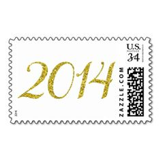 Faux Gold Glitter 2014 Graduation Postage