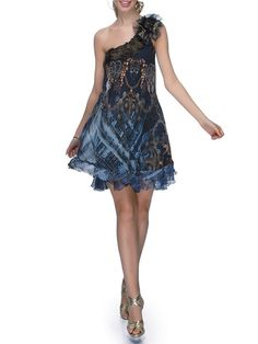 Navy Blue Single Sleeve Silk Hand Made One Shoulder Mini Dress  minus the bow at the shoulder