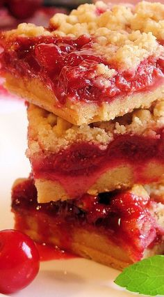 Cherry Pie Crumble Bars Recipe ~ A sumptuous homemade cherry pie filling made with plenty of fresh picked tart cherries as well as a crumble pastry with just the right salty-sweet and buttery richness you would expect in a darn good tart cherry pie. This recipe is incredibly easy