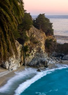 Julia Pfeiffer Burns State Park, Big Sur Coast, California.  This state park is named after Julia Pfeiffer Burns, a well respected pioneer woman in the Big Sur country. The park stretches from the Big Sur coastline into nearby 3,000-foot ridges. It features an 80-foot waterfall that drops from granite cliffs into the ocean from the Overlook Trail. A panoramic view of the ocean and miles of rugged coastline is available from the higher elevations along the trails.