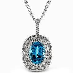 Simon G. 18K White & Yellow Gold Pendant Featuring a Elongated Teardrop Australian Opal & Pear Cut Blue Sapphires, White Diamonds & Yellow Diamond. Style TP334