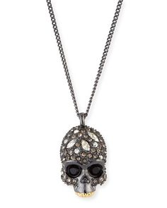 Crystal-Encrusted+Skull+Pendant+Necklace+by+Alexis+Bittar+at+Neiman+Marcus.