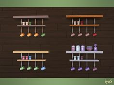 Functional double shelf with four small cups and egg-cups. Part of Bon Appetit set. Found in TSR Category 'Sims 4 Miscellaneous Surfaces' Sims 4 Kitchen, Egg Cups, Electronic Art, Wind Chimes, Objects, Shelves, Display, Bon Appetit, Outdoor Decor