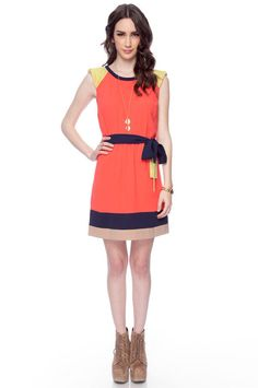 Color Block dress in coral.. I LOVE THE COLORS!!
