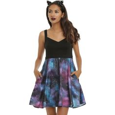 Hot Topic Galaxy Skater Dress ($35) ❤ liked on Polyvore featuring dresses, space print dress, fit and flare skater dress, nebula dress, v-neck skater dresses and v-neck dresses