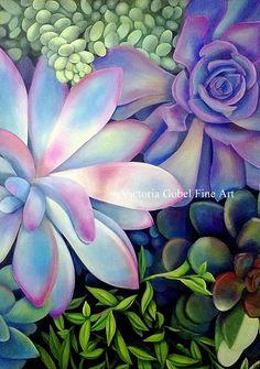 Succulent Original Art by Victoria Gobel  by VictoriaGobelFineArt, $95.00