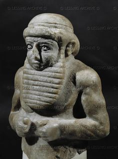 : SUMER SCULPTURE 5TH-2ND MILL.BCE A man with beard. Alabaster bust (three-quarter view of 08-02-01/12)  Iraq Museum, Baghdad, Iraq