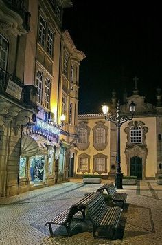 Stone framed windows and doors - the typical architecture of the northeren #Portugal  towns, Rua da Paz, Viseu, by night #PORTUGAL