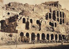 Facade of the Odeon of Herodes Atticus. Old Photos, Vintage Photos, Greek History, History Of Photography, Greek Art, Athens Greece, Library Of Congress, Facade, Taj Mahal