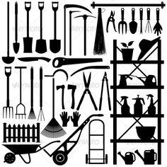 Gardening Tools Silhouette — Vector EPS #equipment #garden • Available here → https://graphicriver.net/item/gardening-tools-silhouette/128005?ref=pxcr
