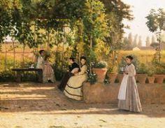 Silvestro Lega; Il pergolato; 1866 ca.; olio su tela; Pinacoteca di Brera, Milano.