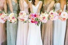 Perfectly mixed bridal gowns, paired with a pop of bright blooms.  Jasmine lee photography