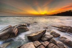 Beautiful sunset at tropical rocks and beach at Lan Hin Khao Beach,Thailand Roatan, Summer Photos, Beautiful Sunset, Sunrise, Thailand, Tropical, Rocks, River, Beach