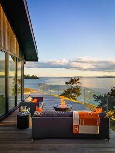 Chalé Canadense com Terraço Panorâmico-terraço com vista do lago ao por do sol