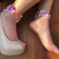 Your place to buy and sell all things handmade Frilly Socks, Pink Socks, Fishnet Socks, Floral Heels, Socks And Heels, Heels Outfits, Kinds Of Shoes, Fashion Socks, Ballerina Flats