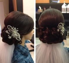 not a fan of the vail placement or the hair ornament but love the hair