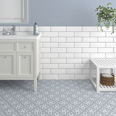 Devonstyle Grey Pattern Wall and Floor Tile Devon Style floor tiles make a wonderful feature of any hallway or bathroom. Use the Devon Style Black base tile as a border to create a focal point or deploy across the whole floor for a real statemen Unique Flooring, Grey Flooring, Kitchen Flooring, Kitchen Chairs, Dining Chairs, Bathroom Floor Tiles, Wall And Floor Tiles, Victorian Tiles Bathroom, Bathroom Wallpaper