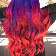 Vivid Hair Color, Pretty Hair Color, Beautiful Hair Color, Hair Dye Colors, Neon Hair, Ombre Hair, Dip Dye Hair, Dyed Hair, Pelo Multicolor