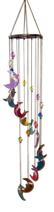 Metal Laser cut Moon wind chimes  #windspiele #carillóndeviento #windchime