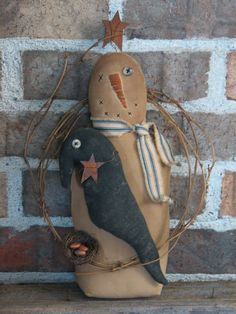 Primitive Snowman with Crow and Bird's Nest by Thymeforprimitives