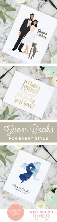 Shop the most unique wedding guest books for your wedding! Only from Miss Design Berry