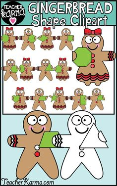 These gingerbread boys and girls holding math shapes are sooo adorable! Math Clipart, School Clipart, Teaching First Grade, Teaching Kindergarten, Preschool, Holiday Activities, Fun Activities, Christmas Clipart, Christmas Graphics