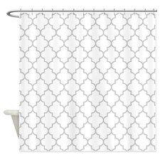 White Gray Quatrefoil Shower Curtain for