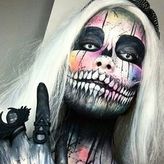 The Halloween season is fast approaching and the designs are coming though on our IG thick and fast (which we love) this awesome work is by @chantalpaints #facepaint #faceart #creativemakeup #skullmakeup #halloween #halloweenmakeup #dupemag