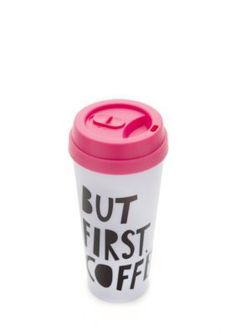 Enjoy your favorite beverage in style with this cute mug. It features a fun saying and brightly colored lid to enhance your day.