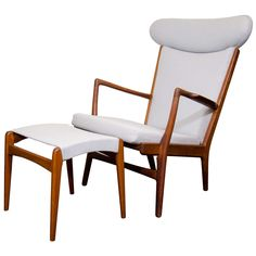 Midcentury Hans Wegner Chair with Ottoman by Fritz Hansen   See more antique and modern Lounge Chairs at https://www.1stdibs.com/furniture/seating/lounge-chairs