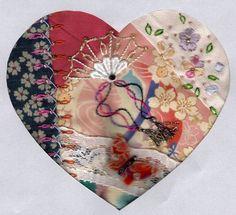I ❤ crazy quilting . . . . From Hideko Ishida. Hideko lives in Japan. Hearts received ~By Iris Susan