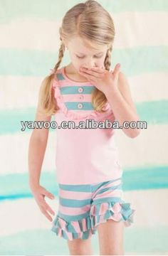 newborn baby girls striped ruffled maching boutique sets pink topshorts latest cheap design girls summer clothes fashion style $5.5~$8