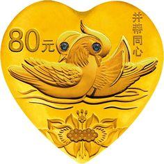 90 Yuan Gold / Silber Liebe (Ente & Lotus) PP