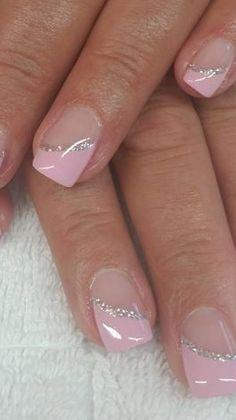Blush Pink Nails, Pink Glitter Nails, Pink Nail Art, Blue Nail, Purple Nails, Glitter Face, French Manicure Acrylic Nails, French Tip Nails, Nail Manicure