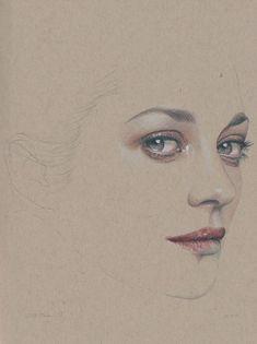 Face Sketch, Toned Paper, Marion Cotillard, Color Pencil Art, Drawing Practice, Medium Art, Fine Art Paper, Saatchi Art, Illustration Art