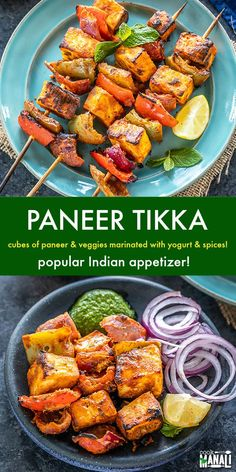Paneer Tikka Paneer Tikka is popular Indian appetizer made with cubes of paneer & veggies marinated with yogurt and spices. Traditionally it's grilled in a tandoor but you can make the same version in the oven with this easy recipe! Indian Appetizers, Vegetarian Appetizers, Vegetarian Recipes Dinner, Veggie Recipes, Indian Food Recipes, Appetizer Recipes, Healthy Recipes, Easy Indian Snacks, Easy Paneer Recipes