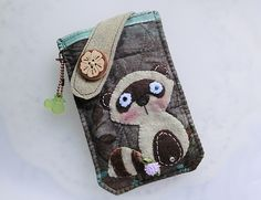 Forest Raccoon Mobile Phone Pouch-Samsung-HTC-LG from Lily's Handmade - Desire 2 Handmade Gifts, Bags, Charms, Pouches, Cases, Purses by DaWanda.com
