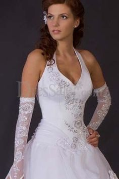 Noble White Wedding Dress for Church Ceremony.