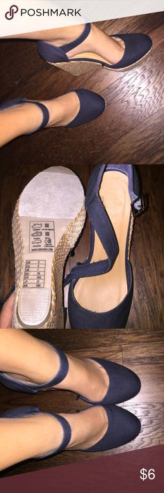 Navy blue wedges Never worn navy blue wedges with buckle strap and tan wedge Forever 21 Shoes Wedges