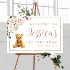 #birthdaysign #birthdayposter #printables #printablebirthday #birthdaysigns #partyprintables #printablebirthday #birthdayprintables #welcomesign #welcomesigns #welcome #sign #signs #partydecor #babysfirst #firstbirthday #teddybear #babygirl #pinkroses #pinkbirthday