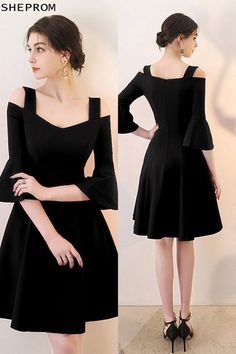129dfc4a1e4 Black Short Homecoming Dress Aline with Bell Sleeves -  66.6  HTX86082 -  SheProm.com. Styles Of DressesTrendy ...