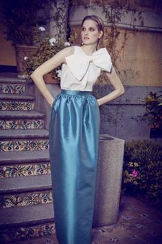 Dolores Promesas Heaven fall winter 2014/2015. Bow and blue skirt.