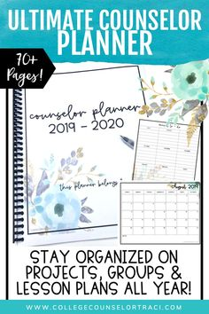 The ultimate school counselor planner (floral mint theme) will keep you organized all year long including individual and group counseling pages, lesson planner, weekly, monthly calendars and more! Group Therapy Activities, High School Activities, Counseling Activities, School Resources, Group Counseling, Human Resources, School Counselor Organization, Counselor Office, High School Counseling