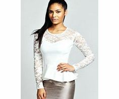 boohoo Alannah Lace Long Sleeve Peplum Top - cream This laced up peplum top is a total head turner. Pair it with a metallic midi skirt , pin- perfecting pointed court heels and an easy-to-wear envelope clutch for maximum style points. http://www.comparestoreprices.co.uk/womens-clothes/boohoo-alannah-lace-long-sleeve-peplum-top--cream.asp